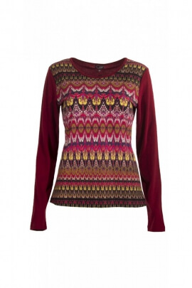 T-shirt casual long sleeve printed with hypnotic ethnic