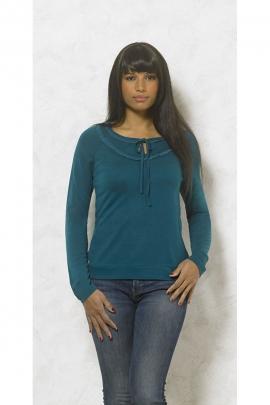 Tee-shirt uni très féminin avec petits lacets à nouer et dentelle