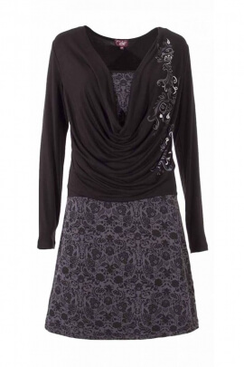 Black dress 2-in-1 sweater with the cowl neck, printed stucco oriental