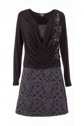 Robe noire effet 2 en 1, chandail au col bénitier, imprimé stuc oriental