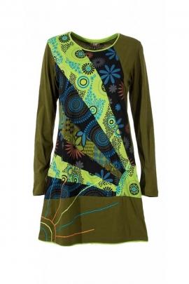 Robe tout en coton, très originale, imprimé floral coloré et broderie