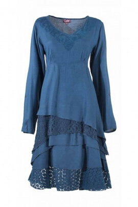Dress boho chic original, in lace and embroidery, casual