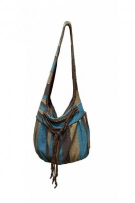 Bolsa de algodón, con anchas rayas de colores, forrado y 4 links