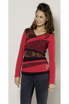 T-shirt patchwork casual asymmetrical original and ethnic
