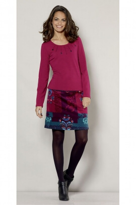 T-shirt chic and stylish, round neck and lace devoured, long sleeves