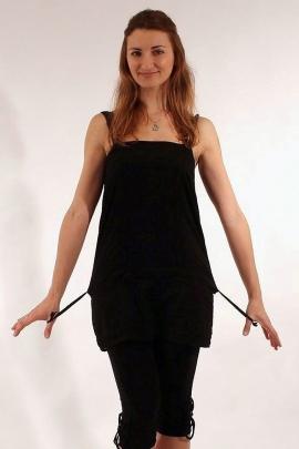 Tunique en coton voile, brodée, avec bretelles