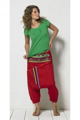 Harem pantalones cortos de algodón de la horquilla bajo las insignias bordadas con estilo chic