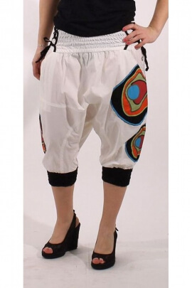 Harem pants capri pants in stretch cotton, elastic and laces at the waist