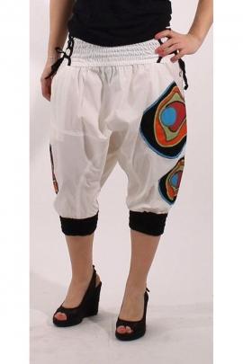 Sarouel pantacourt en coton extensible, élastique et lacets à la taille