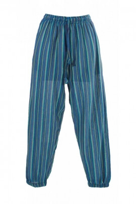 Pantalon bouffant rayé, en coton léger, décontracté, femme ou homme, du Népal