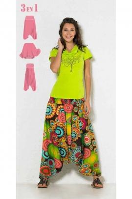 Pantalones Harem, 3 en 1 convertible de algodón, original y colorido, impreso en espiral