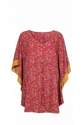 Poncho sari ample and comfortable, lace up at the waist, floral patterns, colorful