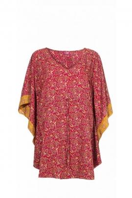 Poncho sari ample et confortable, lacet à la taille, motifs floraux colorés