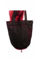 Tote bag in cotton patches and colourful print, lace-up tie