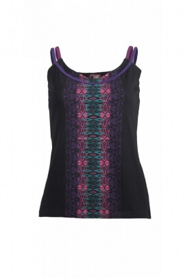 Tank top stylish in stretch cotton, printed, indian, double shoulder strap
