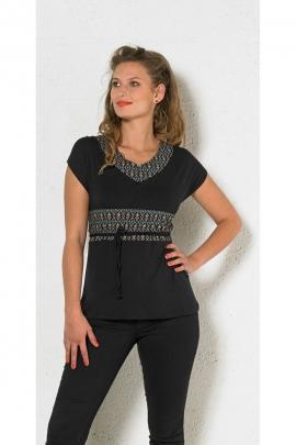 Tee-shirt noir décontracté, avec lacet, imprimé arabesques coloré
