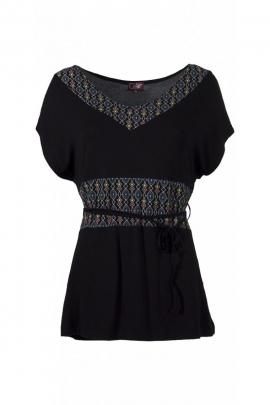 Negro t-shirt casual, con encaje, impreso arabescos de colores