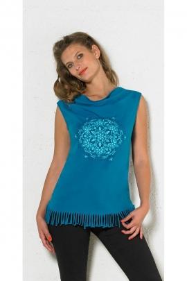 Débardeur en coton extensible, style seventys, à franges et mandala centré