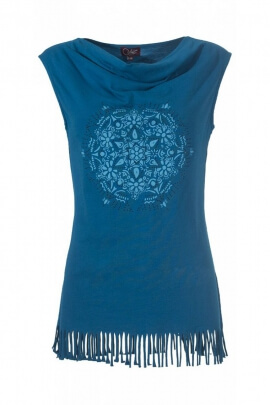 Tank top in stretch cotton, style seventys, fringes and mandala centered