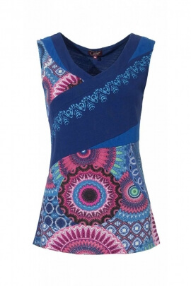 Tank top ethnic and asymmetrical, patch and printed colorful
