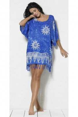 Tunic batik wide and slight, fringed in the summer