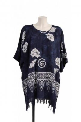 Tunique batik large et légère, à franges, pour l'été