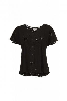 Bonita blusa de verano en el bordado, el inglés, el reino, abotonado y original