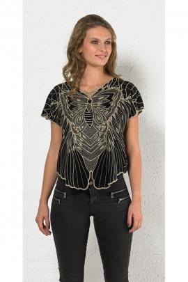 Blusa, colorido y muy original bordado inglés patrón de mariposa