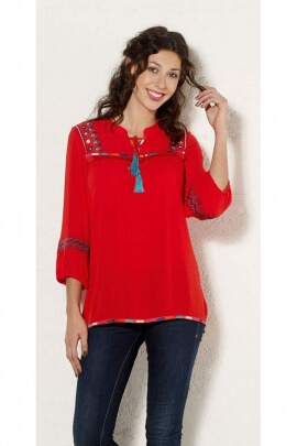 Blouse hippie chic look indian, short sleeve, lightweight and casual