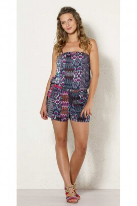 Combi shorts, viscose, printed patch ikat, ethnic style, and hippie chic