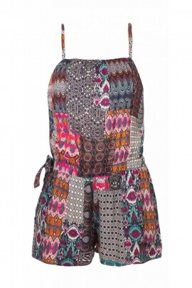 Combi short en viscose, imprimé patch ikat, style ethnique et hippie chic