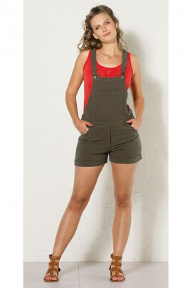 Combi short unie cotton and shoulder straps for beach and town