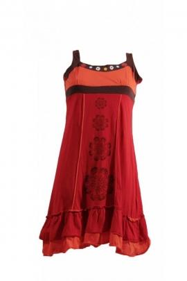 Robe décontractée originale, à bretelles, motifs fleurs et volants