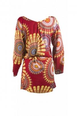 Robe kimono courte originale, avec ceinture et motifs mandalas