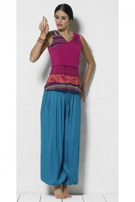 Sarouel pantalon bouffant uni et original, style baba cool, avec poches