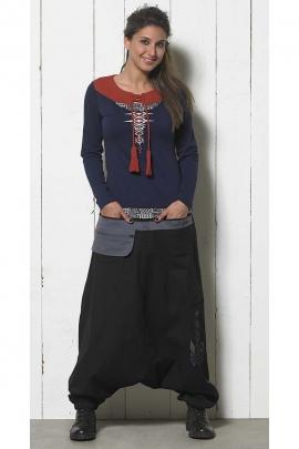 Pantalones Harem elegante de algodón bordado