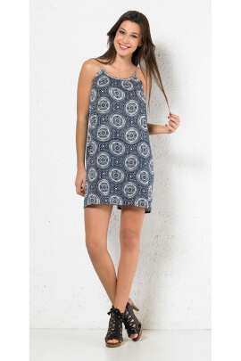 Mini dress mandalas casual, shoulder straps plaited, original and romantic