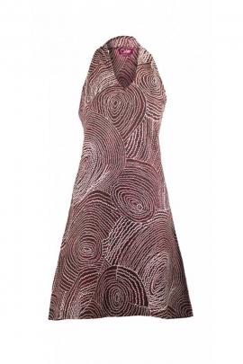 Jolie robe courte originale sans manches, motifs aborigènes colorés