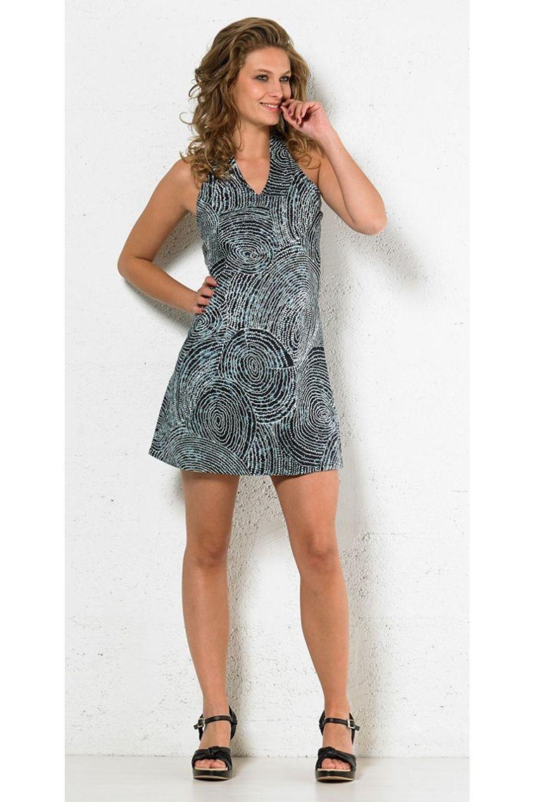 b182d050e Bonito vestido original corto sin mangas, estampado aborígenes de colores  Talla S Color Negro