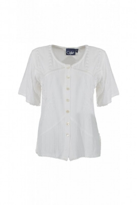 Blouse very feminine with embroidery, buttons and lace, chic and romantic