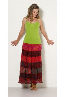 Long skirt indian cotton bohemian and hippie chic, colorful print