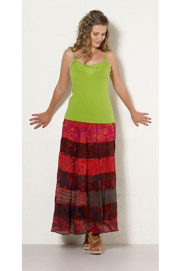 564b6bec1 Jupe longue indienne en coton, bohème et hippie chic, imprimé coloré Taille  TU Couleur Rouge