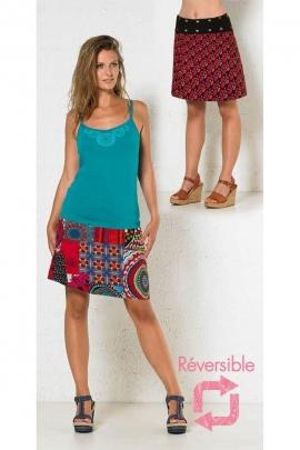 Jupe réversible en coton et à pression, motifs patchwork, hippie chic