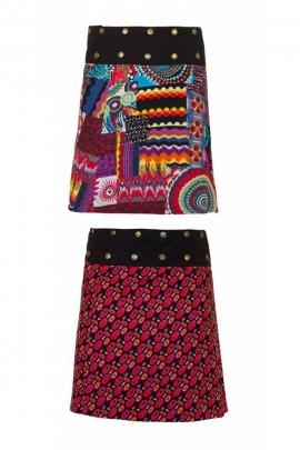 Jupe réversible en coton, à pression, imprimé patchwork de couleurs, style hippie chic