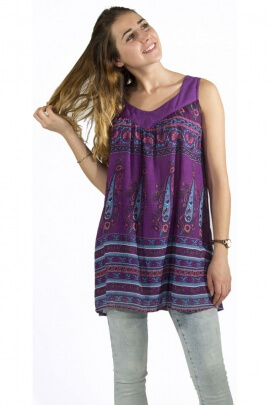 Tunic in cotton voile, printed bohemian colorful, import indian