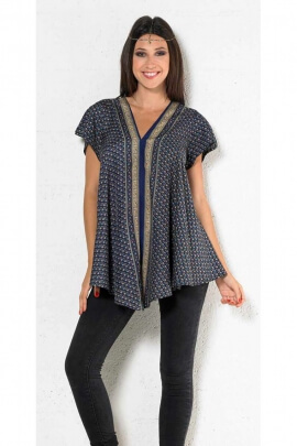 Pretty and chic tunic sari, indian, cup, trapezoid, short sleeves