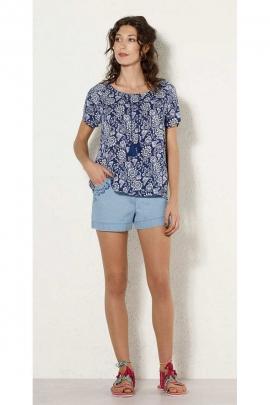 Blouse fluid and stylish ethnic printed fleurette, short sleeves