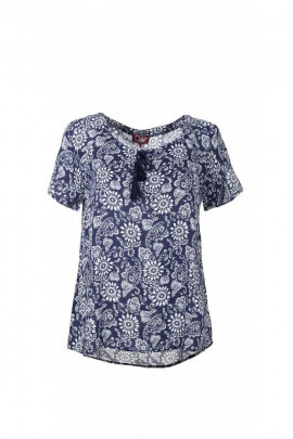 Blouse fluid and stylish ethnic printed fleurette, short sleeves