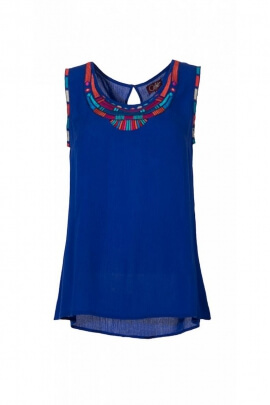 Tank top in crepe viscose, with a collar embroidered, style, bohemian chic