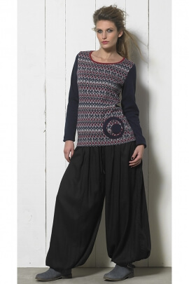 Pull jacquard style t-shirt manches longues